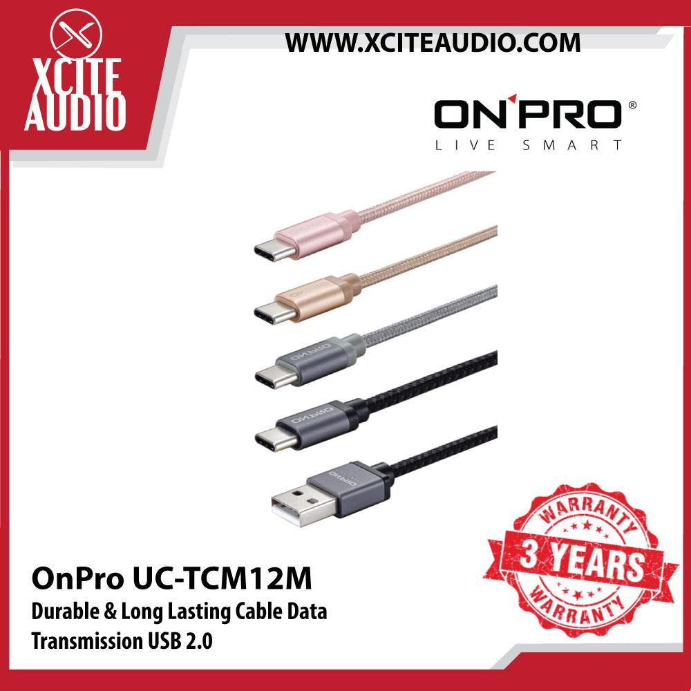 OnPro UC-TCM12M Type C Durable & Long Lasting Cable Data Transmission USB 2.0 - Xcite Audio