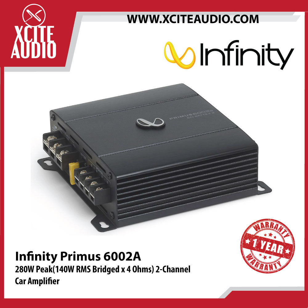 Infinity Primus 6002A 280W Peak (140W RMS Bridged x 4 Ohms) 2-Channel Car Amplifier
