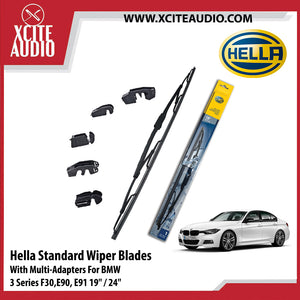 Hella Standard Wiper Blades Car Windshield Wiper With Multi-Adapters For BMW 3 Series F30, E90, E91 & 5 Series E60, E61, F10, G30 - Xcite Audio