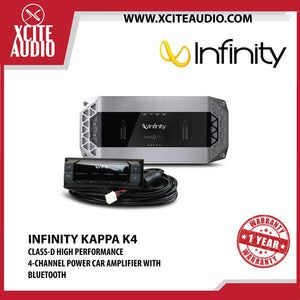 Infinity Kappa K4 Class-D High Performance 4-Channel Full Range Car Audio Power Amplifier with Bluetooth - Xcite Audio