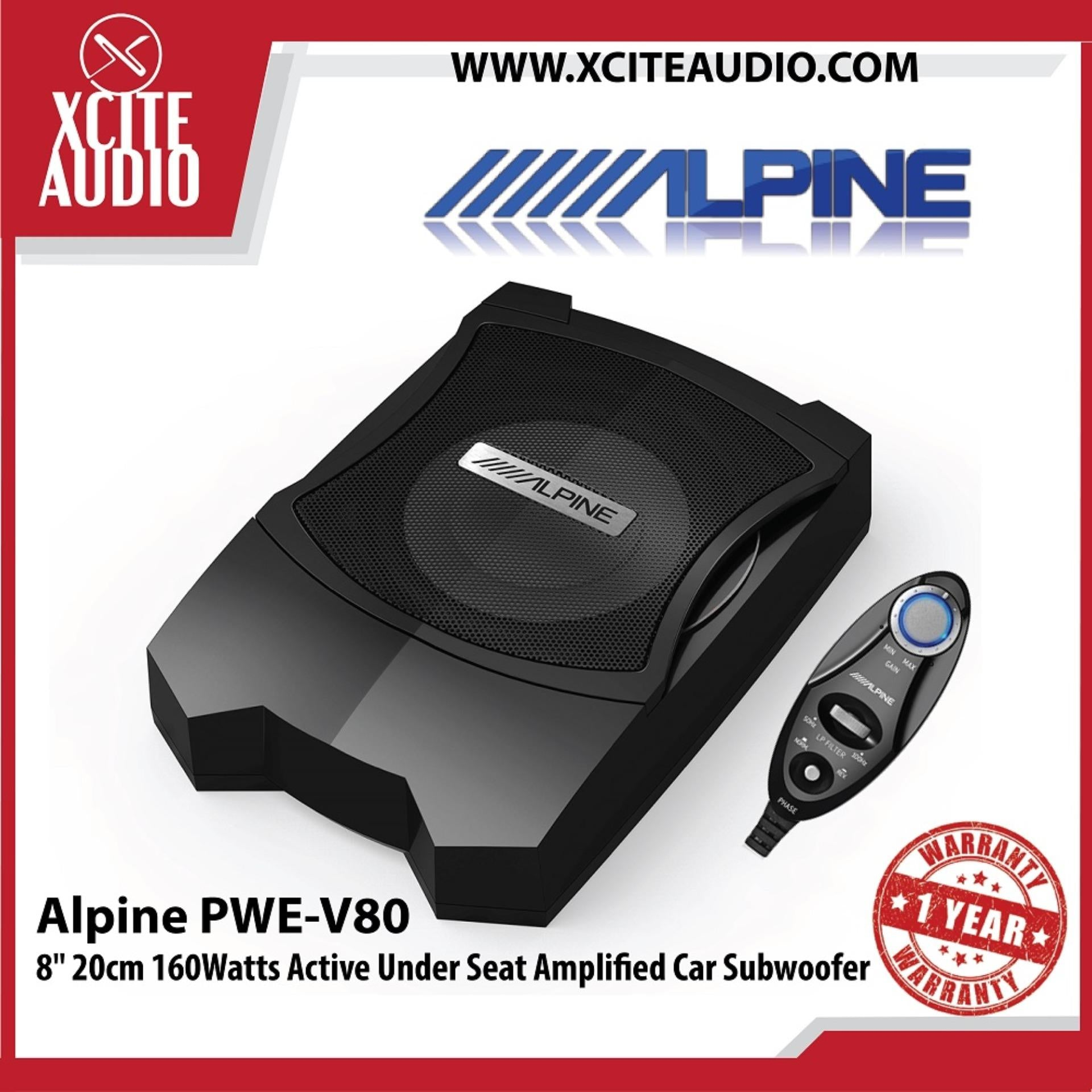 "Alpine PWE-V80 8"" 20cm 160 Watts Active Car Underseat Subwoofer"