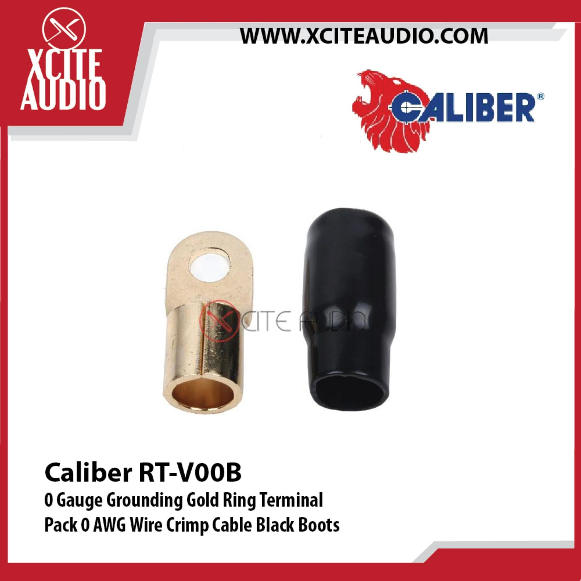 Caliber RT-V00B 0 Gauge Grounding Gold Ring Terminal 0 AWG Wire Crimp Cable Black Boots - Xcite Audio