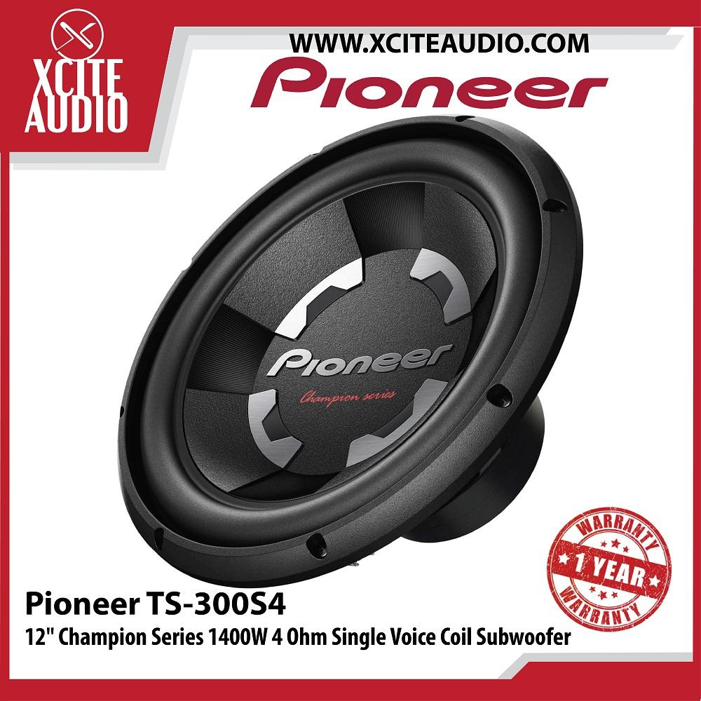 "Pioneer TS-300S4 12"" Champion Series 1400W 4 Ohm Single Voice Coil Car Subwoofer - Xcite Audio"