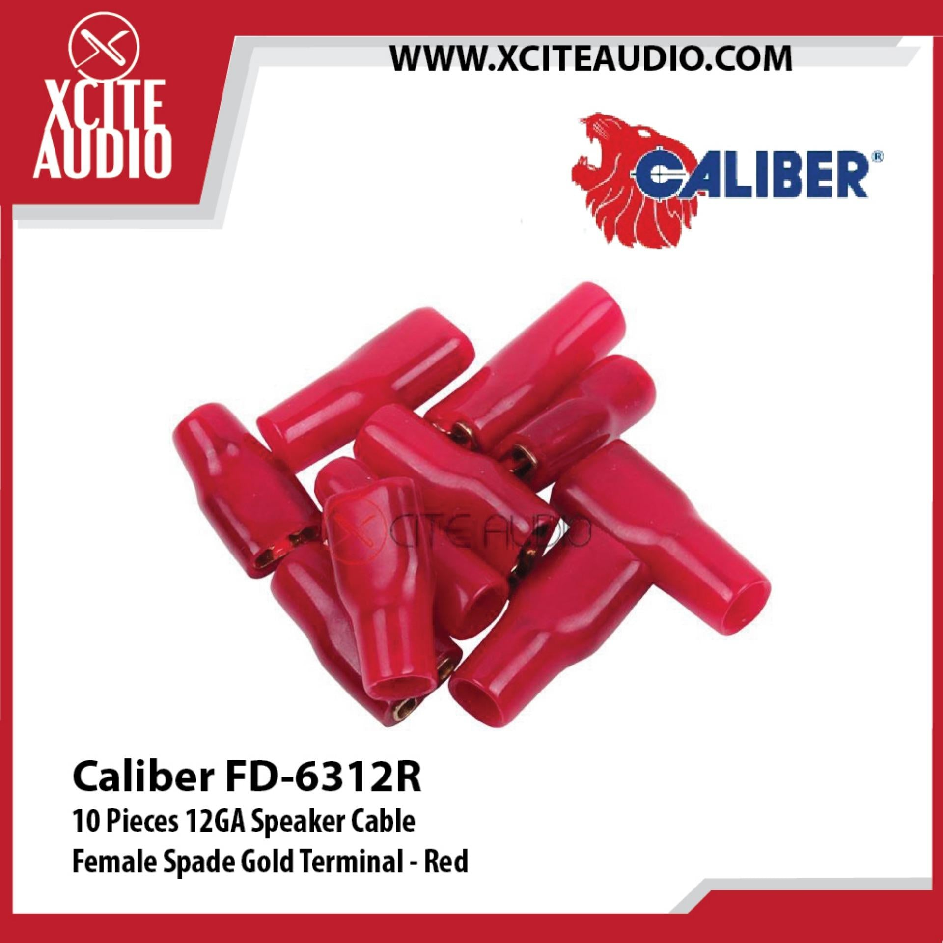 Caliber FD-6312R 10 Pieces 12GA Speaker Cable Female Spade Gold Terminal - Red - Xcite Audio