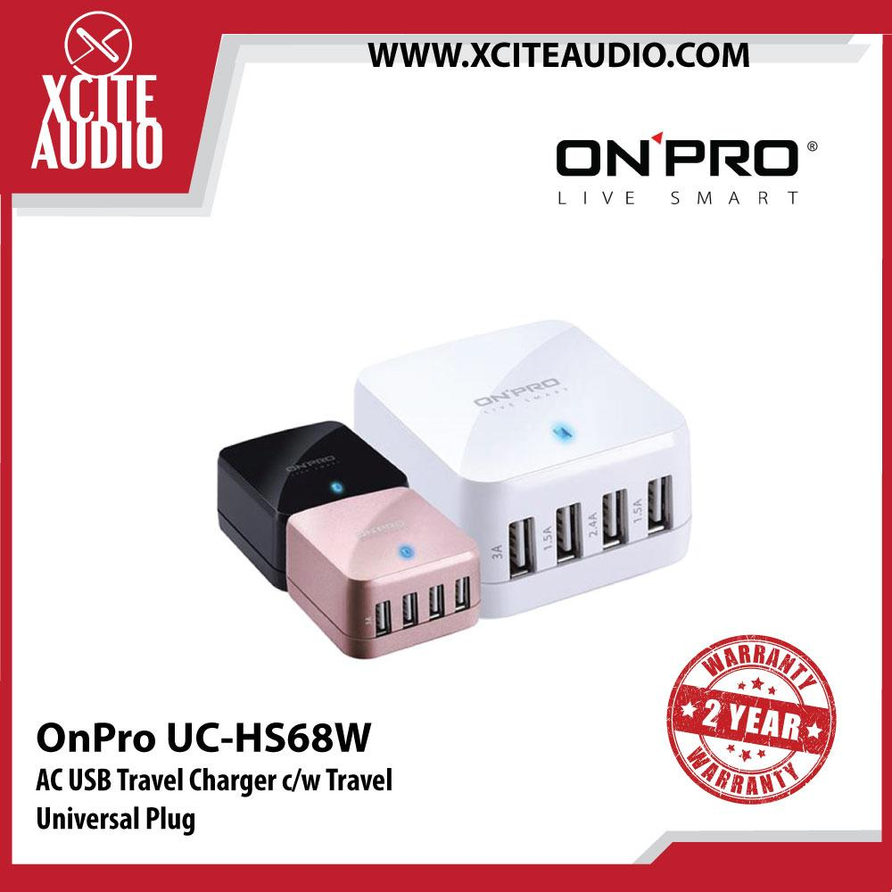 OnPro UC-HS68W AC USB Travel Charger c/w Travel Universal Plug - Xcite Audio