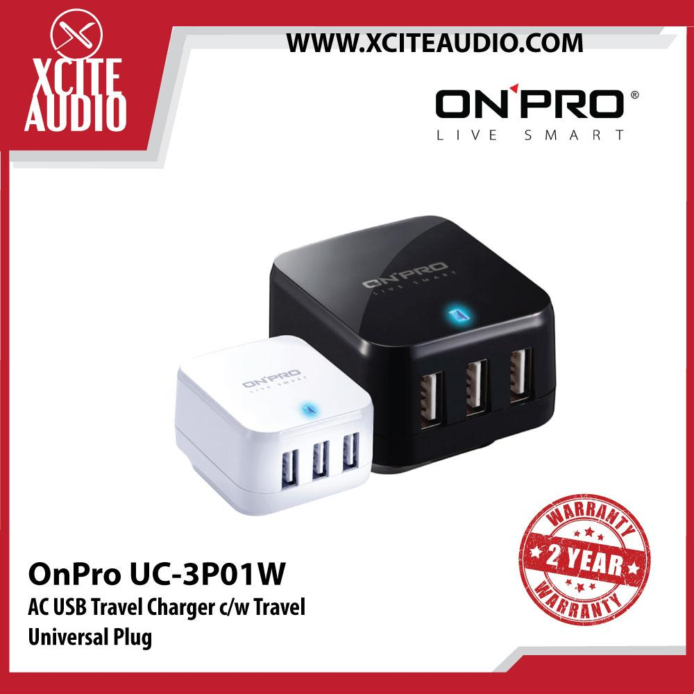 OnPro UC-3P01W AC USB Travel Charger c/w Travel Universal Plug - Xcite Audio
