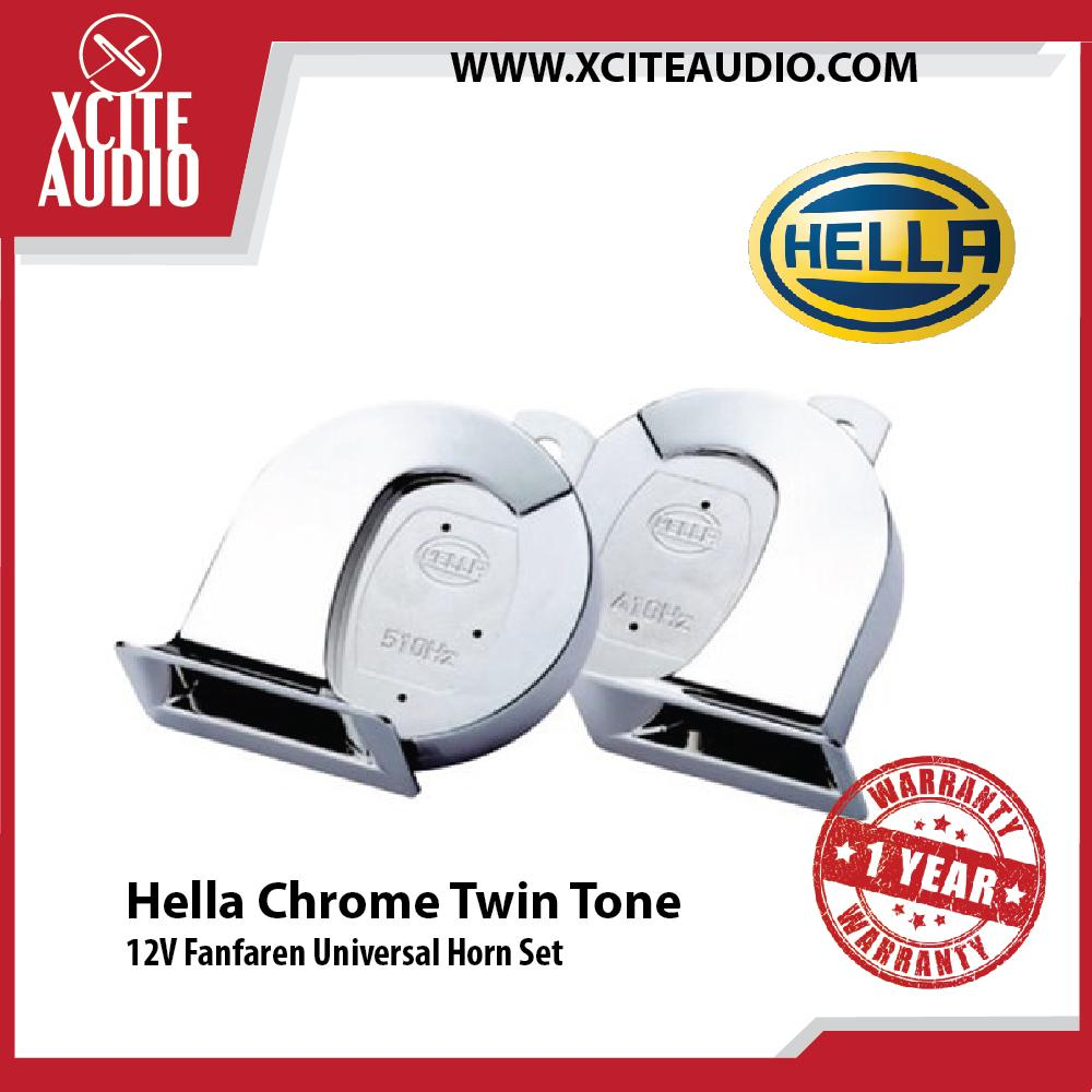 Hella Chrome Twin Tone Fanfaren Horn Set Universal 12V Louder Car Vehicle Horn - Xcite Audio