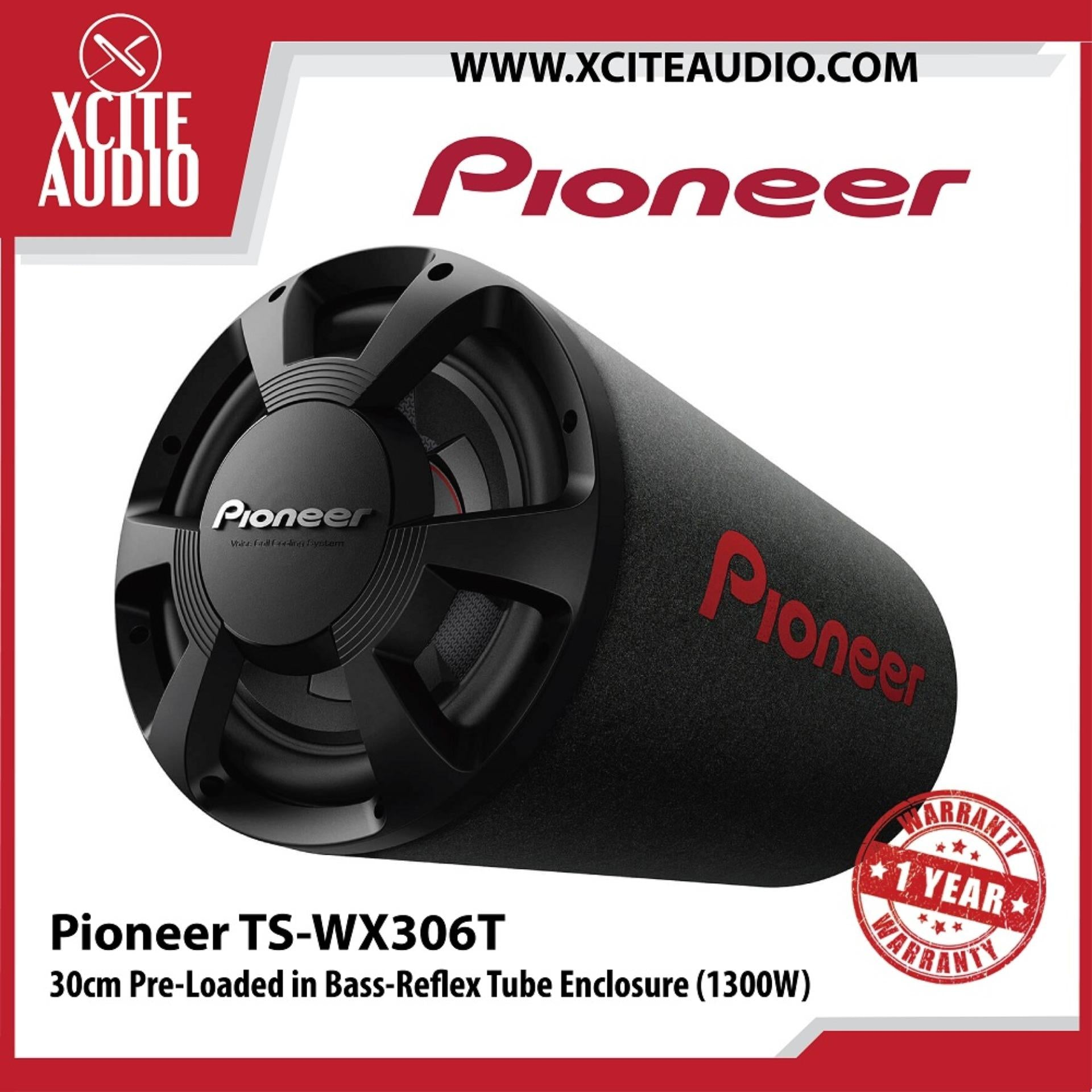 "Pioneer TS-WX306T 12"" 30cm 1300W Pre-Loaded in Bass-Reflex Tube Enclosure Subwoofer - Xcite Audio"