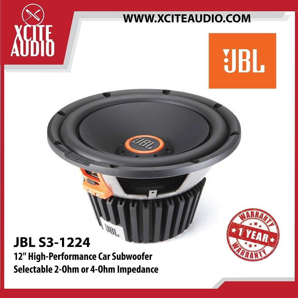 "JBL S3-1224 12"" High-Performance Selectable 2-Ohm or 4-Ohm Impedance Car Subwoofer - Xcite Audio"