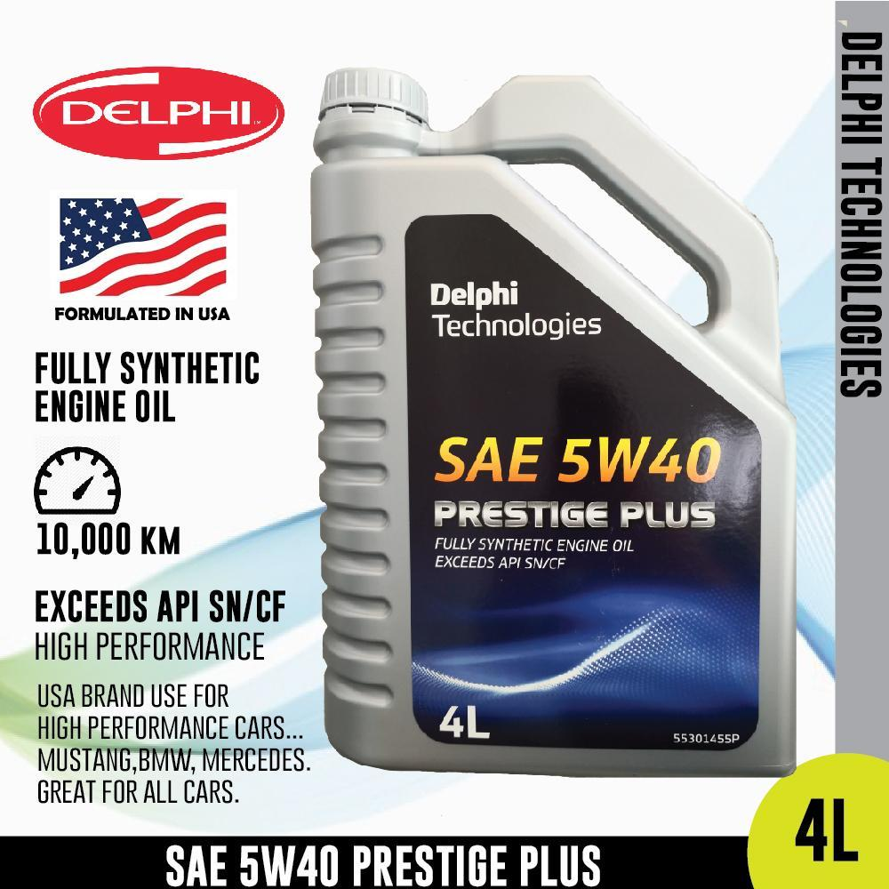 Delphi 5W40 4L Full Synthetic API SN/CF High Performance Engine Oil for All Cars Toyota Honda Perodua Proton Mercedes BMW Suzuki Mazda Mitsubishi Kia Hyundai Subaru Lexus - Xcite Audio