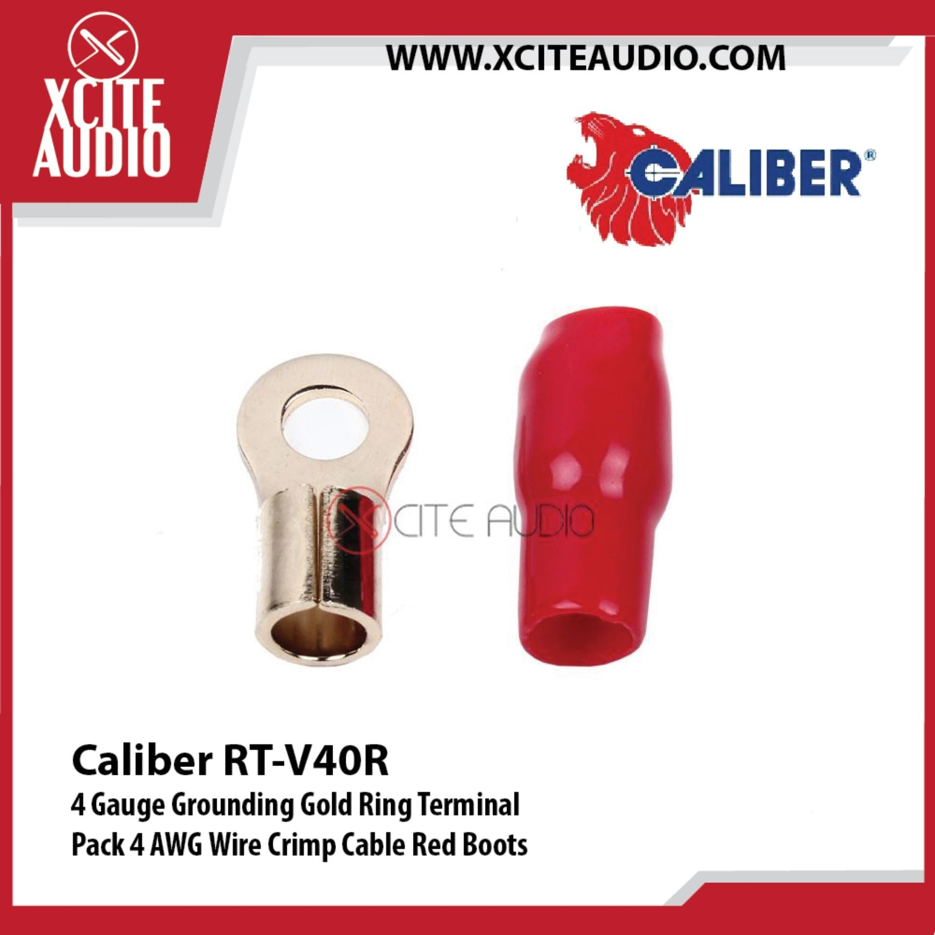 Caliber RT-V40R 4 Gauge Grounding Gold Ring Terminal 4 AWG Wire Crimp Cable Red Boots - Xcite Audio