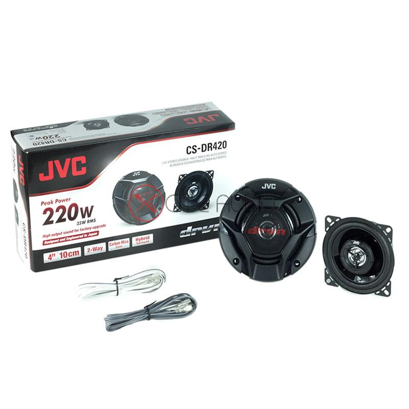 "JVC CS-DR420 4"" (10cm) 2-Way 220W Coaxial Car Speakers - Xcite Audio"