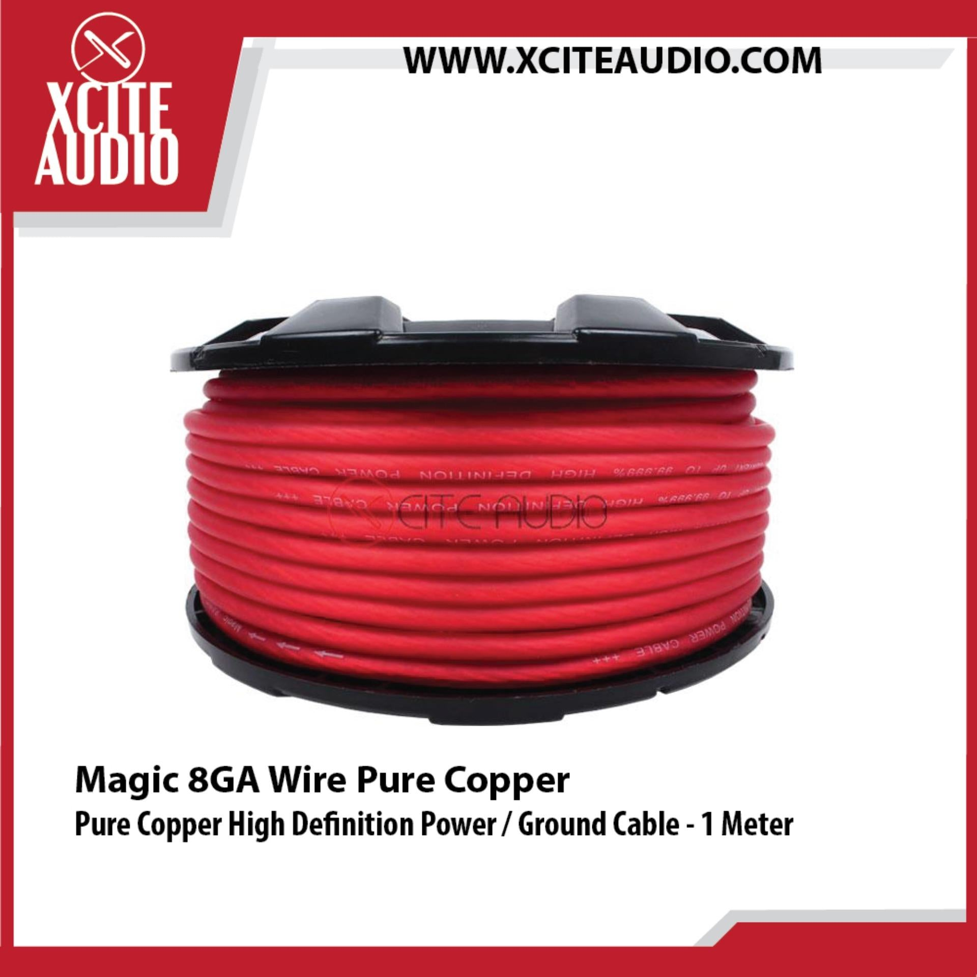 Magic 8GA Wire Pure Copper High Definition Power / Ground Cable - 1 Meter - Xcite Audio