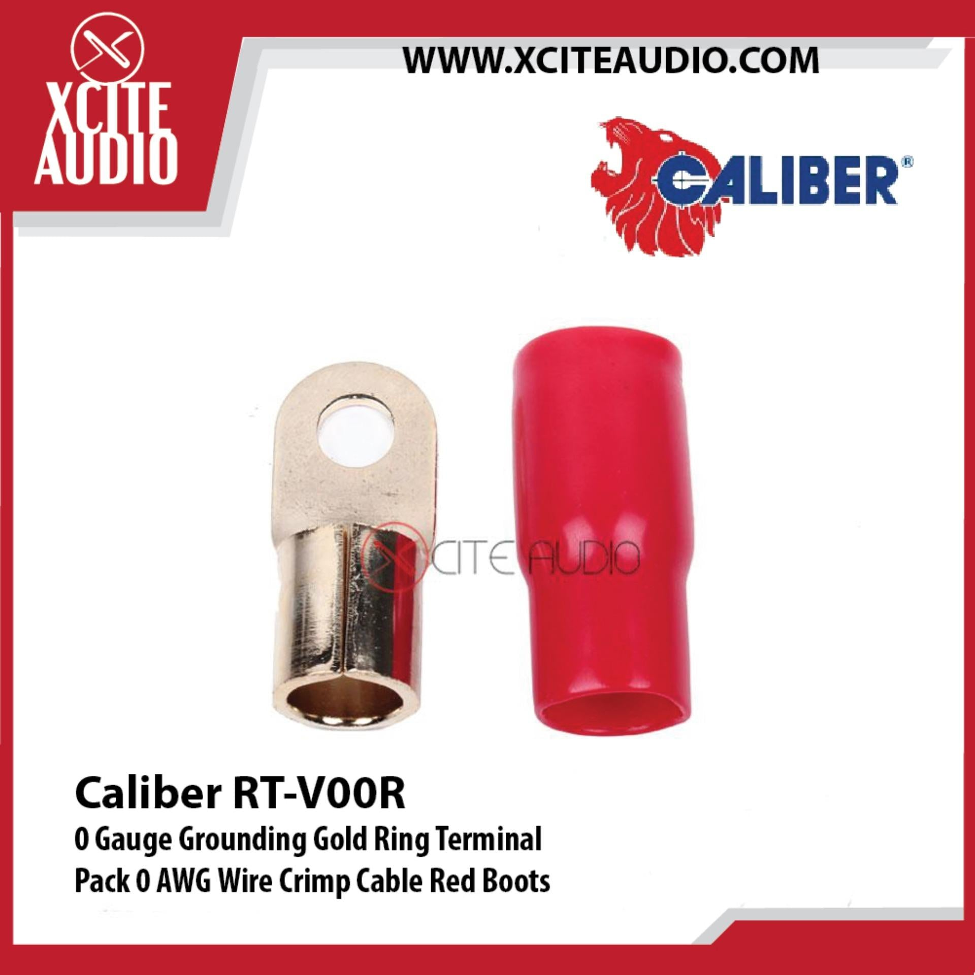 Caliber RT-V00R 0 Gauge Grounding Gold Ring Terminal 0 AWG Wire Crimp Cable Red Boots - Xcite Audio