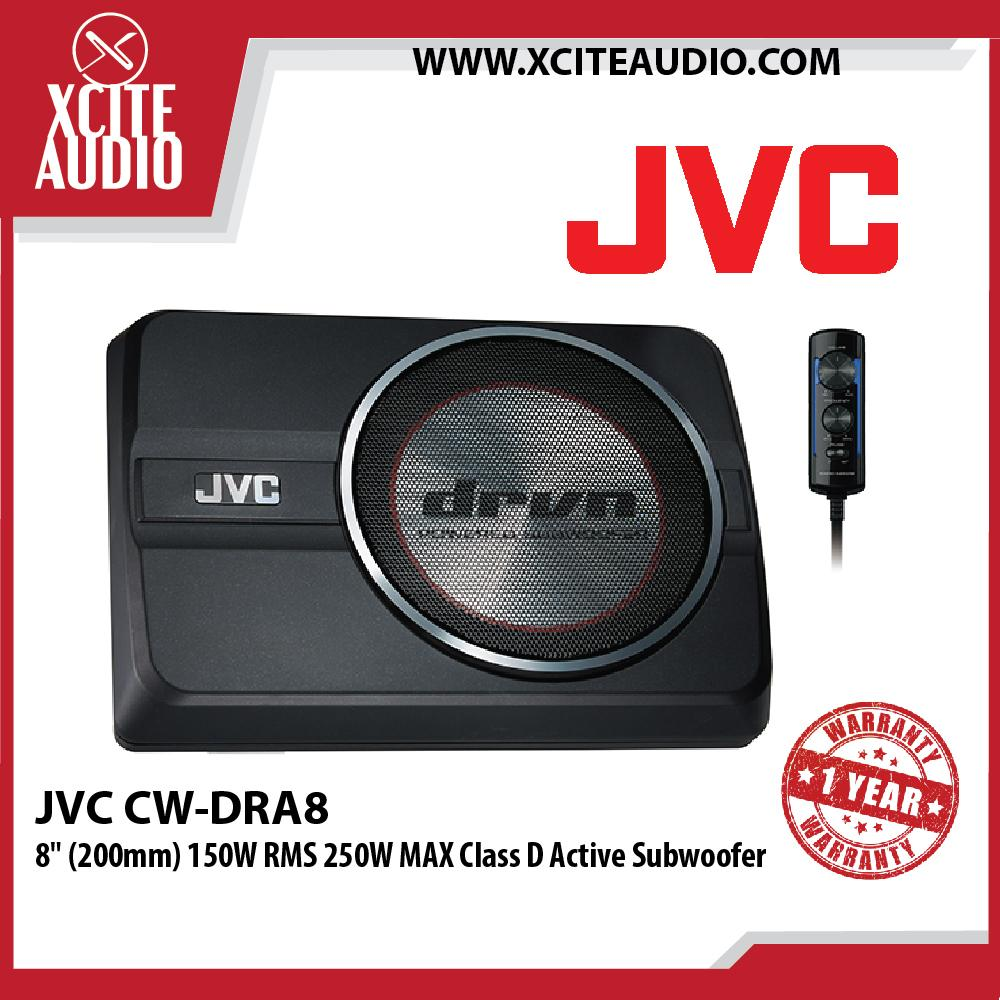 "JVC CW-DRA8 8"" DRVN Series 250W Peak Compact Active Underseat Car Subwoofer"