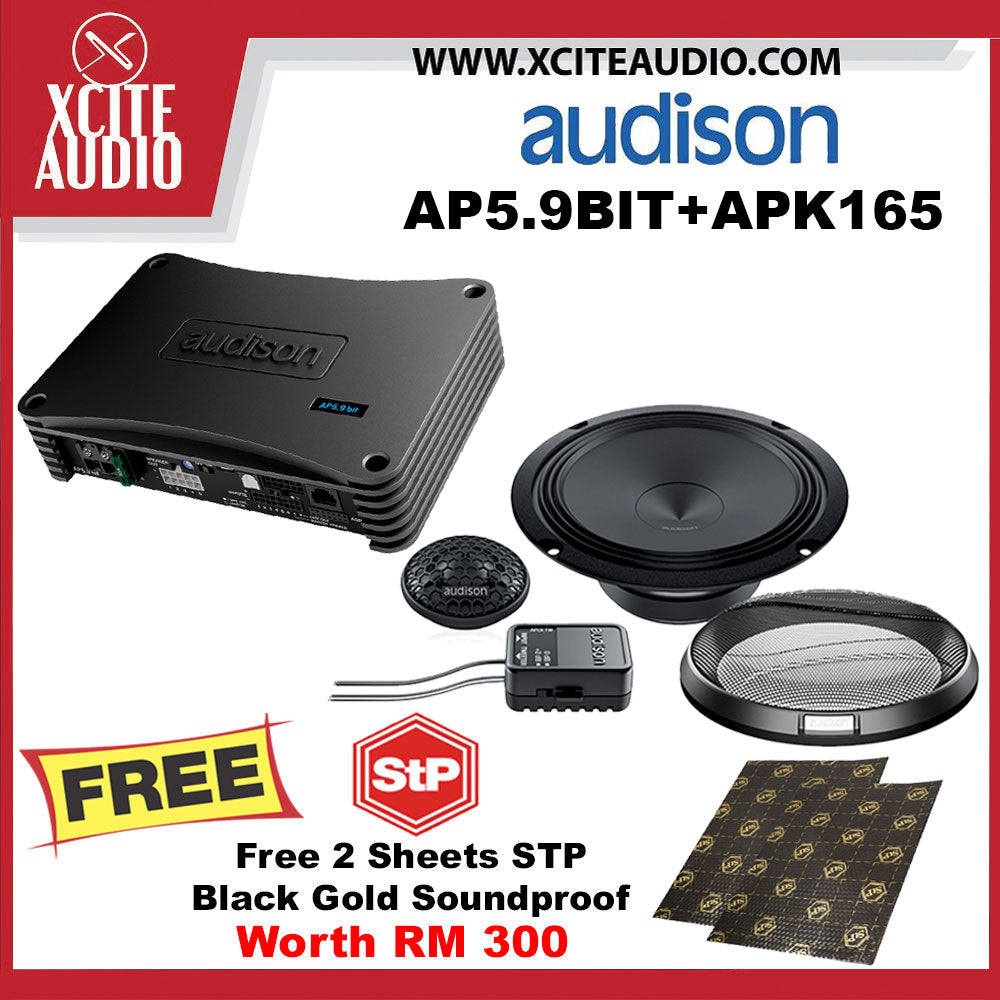 "Audison Prima AP5.9 BIT 5 Channel Amplifier + Audison Prima APK165 6.5"" 2-Way Component Speakers FOC 2 x STP Soundproof - Xcite Audio"