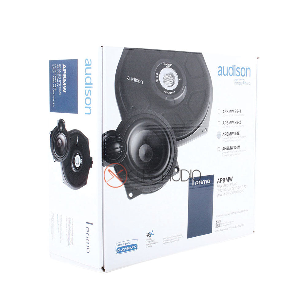 "Audison APBMW K4E 4"" 2-Way 100W Peak Component Car Speakers for BMW- Mini Sound Pack - Xcite Audio"