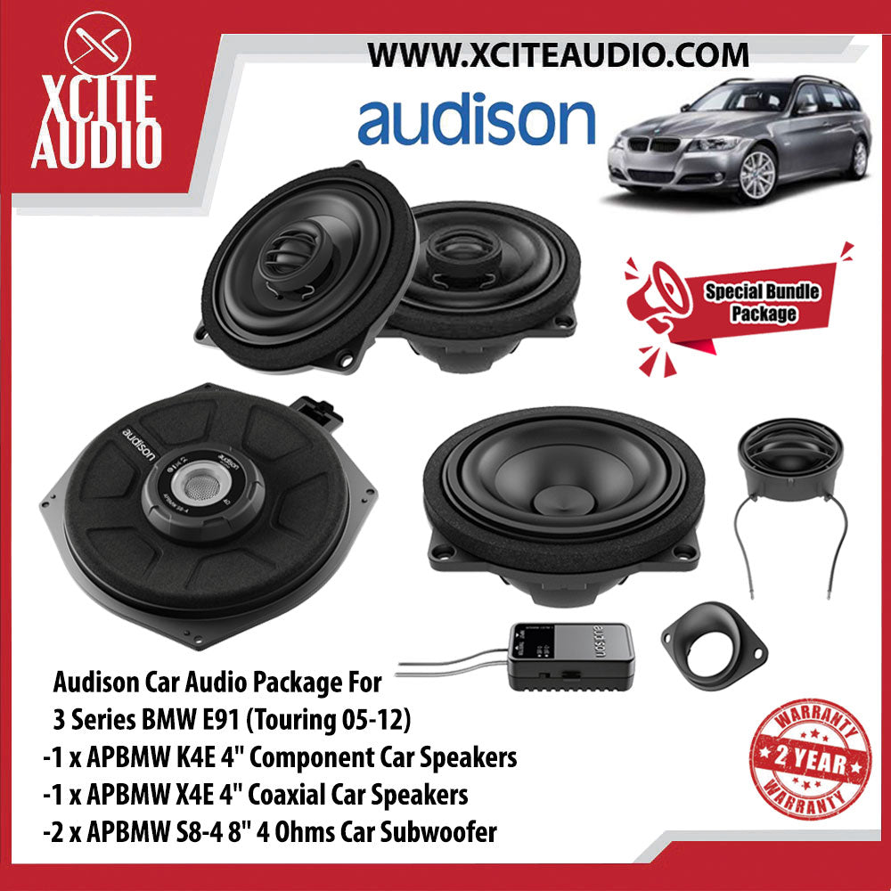 "Audison Car Audio Package Set 5 For BMW 3 & 5 Series (1 x APBMW K4E 4"" Component Car Speakers + 1 x APBMW X4E 4"" Coaxial Car Speakers + 2 x APBMW S8-4 8"" 300Watts Car Subwoofer) - Xcite Audio"