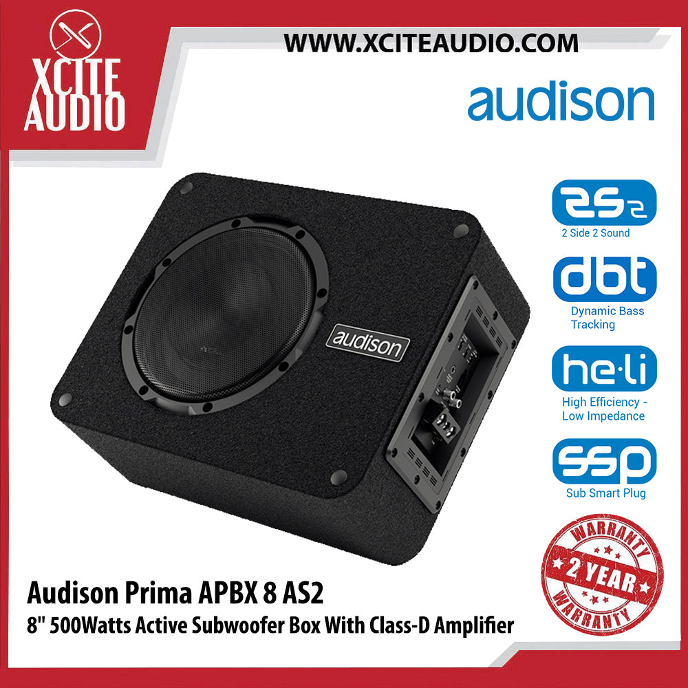 "Audison Prima Series APBX8AS2 8"" 500Watts Plug & Play Car Active Subwoofer Box - Xcite Audio"