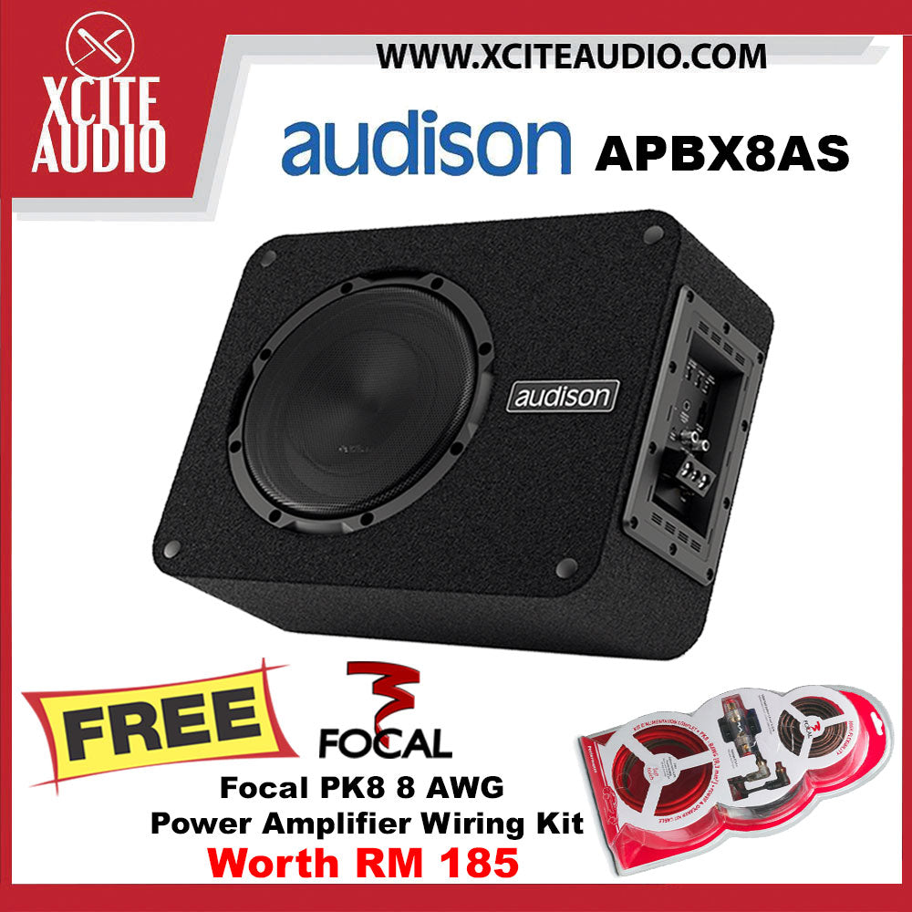 "Audison APBX 8 AS Prima Series 8"" 500Watts Active Subwoofer Box FOC Focal PK8 8 AWG Power Amplifier Wiring Install Kit - Xcite Audio"