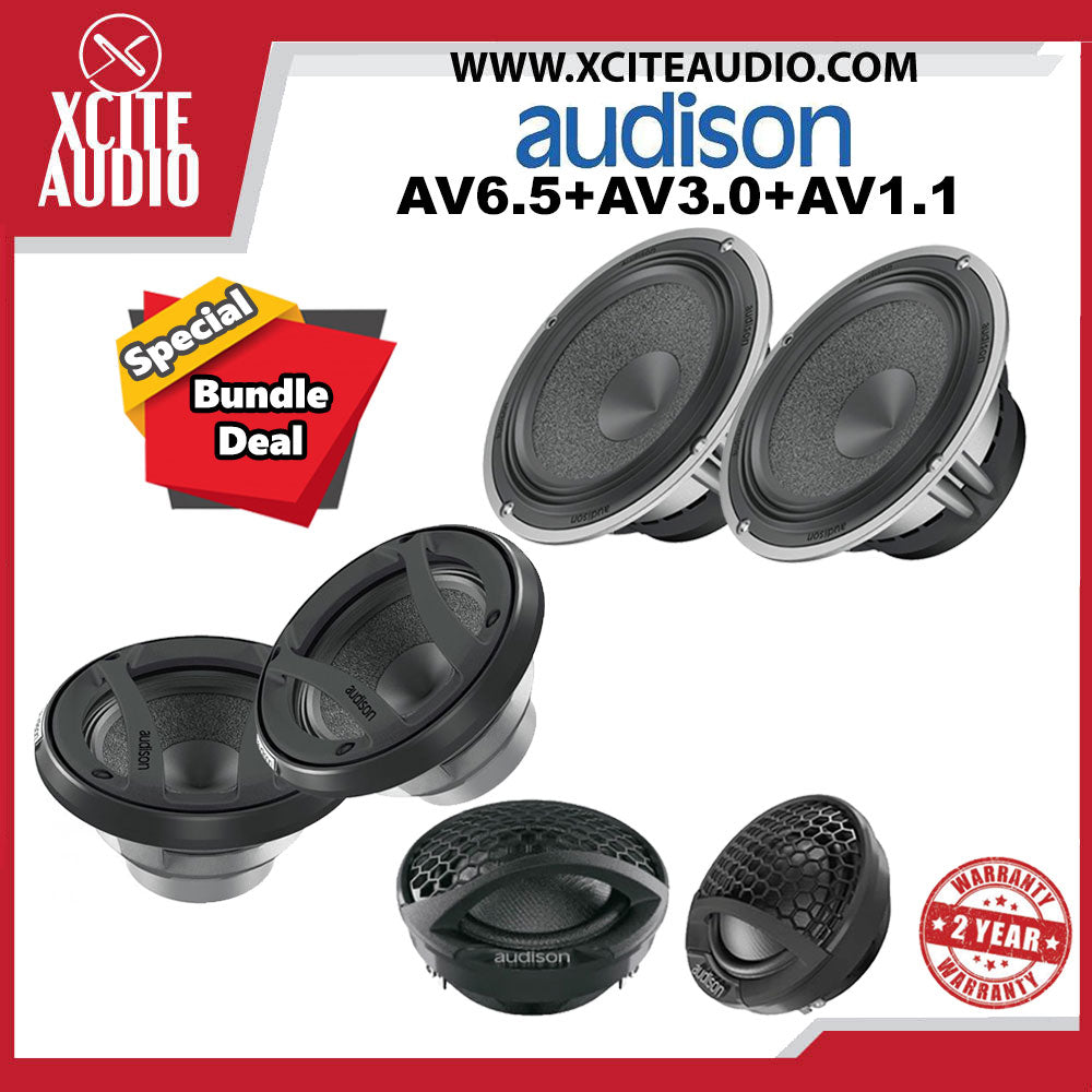 "Audison VOCE AV6.5 6.5"" Midbass Woofer + Audison VOCE AV3.0 3"" Midrange Car Speakers + Audison AV1.1 1 ⅛"" Car Tweeters - Xcite Audio"