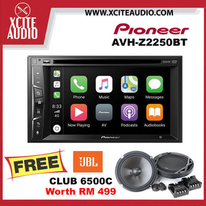 "Pioneer AVH-Z2250BT 6.2"" Apple CarPlay Weblink Car Headunit FOC JBL Club 6500C 6.5"" 2-Way Component Car Speakers - Xcite Audio"