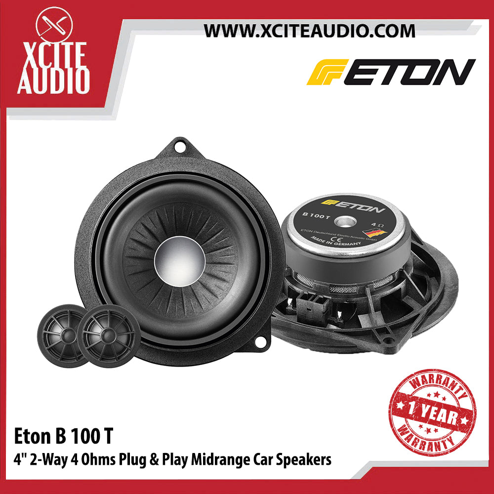 "Eton B100T 4"" 50Watts 2-Way 4 Ohms Plug & Play Midrange Car Speakers For BMW - Xcite Audio"