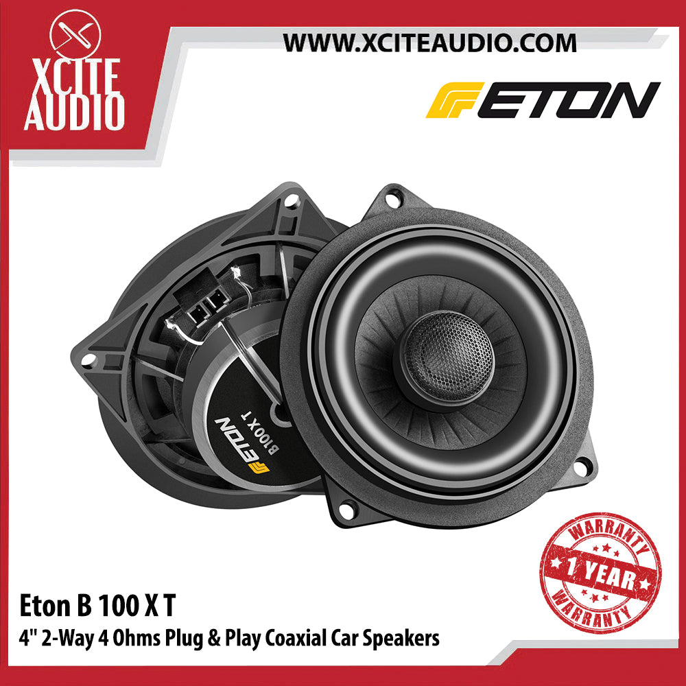 "Eton B100XT 4"" 50Watts 2-Way 4 Ohms Plug & Play Coaxial Car Speakers For BMW - Xcite Audio"