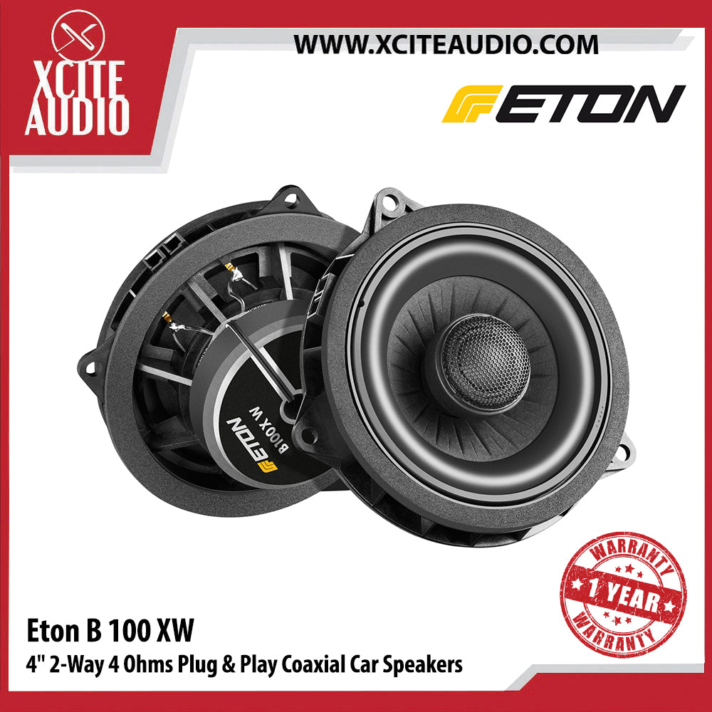 "Eton B100XW 4"" 50Watts 2-Way 4 Ohms Plug & Play Coaxial Car Speakers For BMW - Xcite Audio"