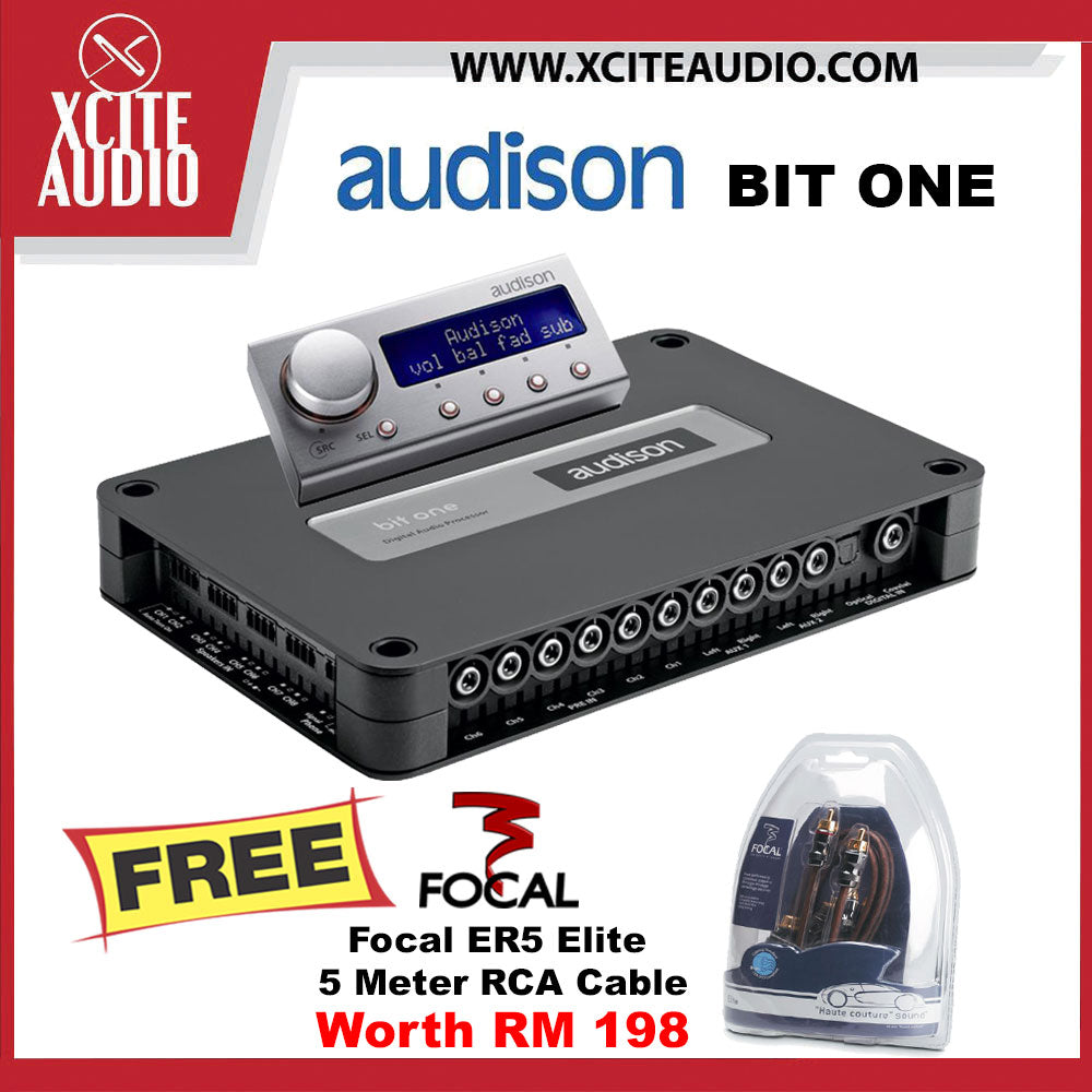 Audison Bit One Signal Interface Audio Processor with DRC FOC Focal ER5 High Performance 5 Meter RCA Elite Cable - Xcite Audio