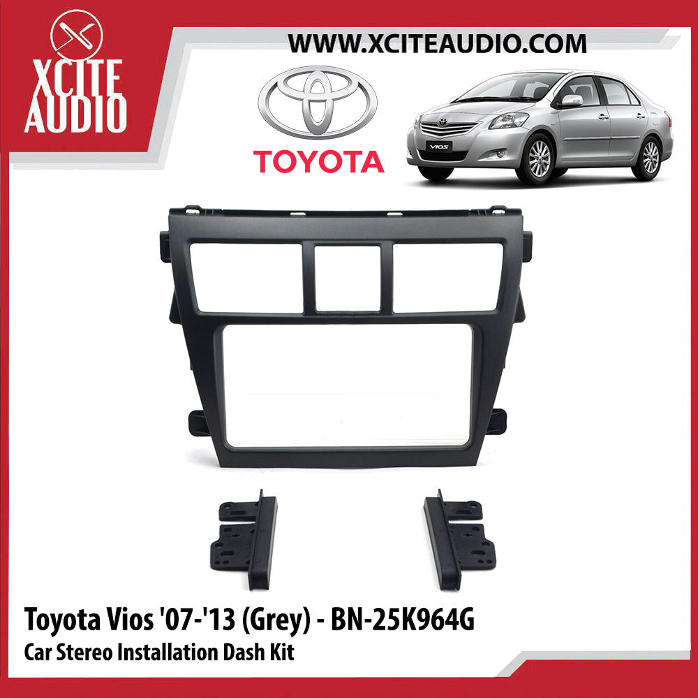 Toyota Vios 2007-2013 BN-25K964G (Grey) Double-Din Car Stereo Installation Dash Kit Fascia Kit Car Player Casing Mounting Kit - Xcite Audio