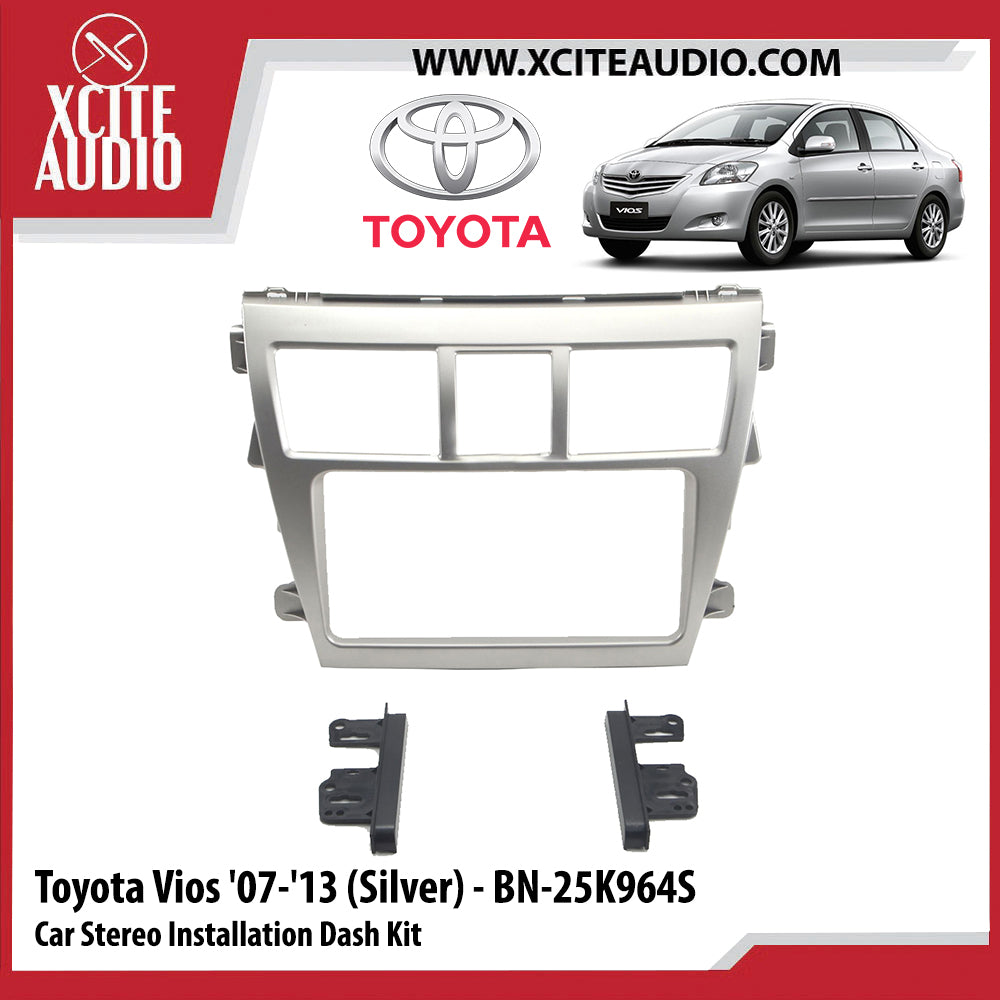 Toyota Vios 2007-2013 BN-25K964S (Silver) Double-Din Car Stereo Installation Dash Kit Fascia Kit Car Player Casing Mounting Kit - Xcite Audio