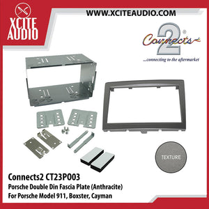Connects2 CT23PO03 Double Din Fascia Plate Fitting Kit (Anthracite) For Porsche 911, Boxster, Cayman - Xcite Audio