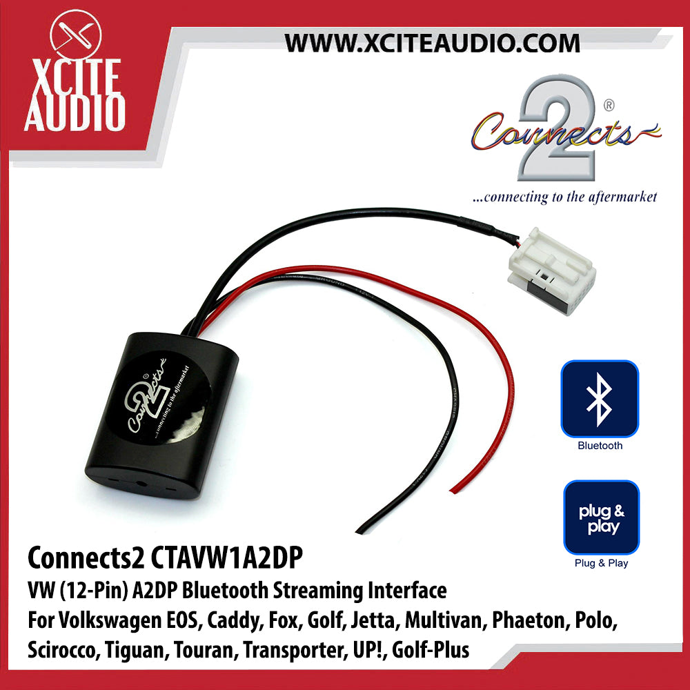 Connects2 CTAVW1A2DP A2DP Bluetooth Streaming Interface For Volkswagen EOS, Caddy, Fox, Golf, Jetta, Multivan, Phaeton, Polo, Scirocco, Tiguan, Touran, Transporter, UP!, Golf-Plus - Xcite Audio