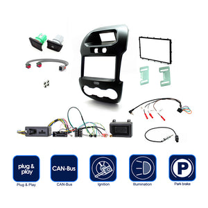 "Connects2 CTKFD40C Installation Kit With Black Double Din Fascia For Ford Ranger With Factory 4.2"" Dash Top Display - Xcite Audio"