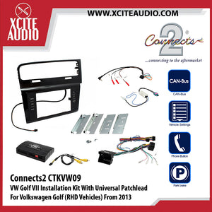 Connects2 CTKVW09 Installation Kit With Infodapter, Black Double Din Fascia Plate For Volkswagen Golf VII - Xcite Audio