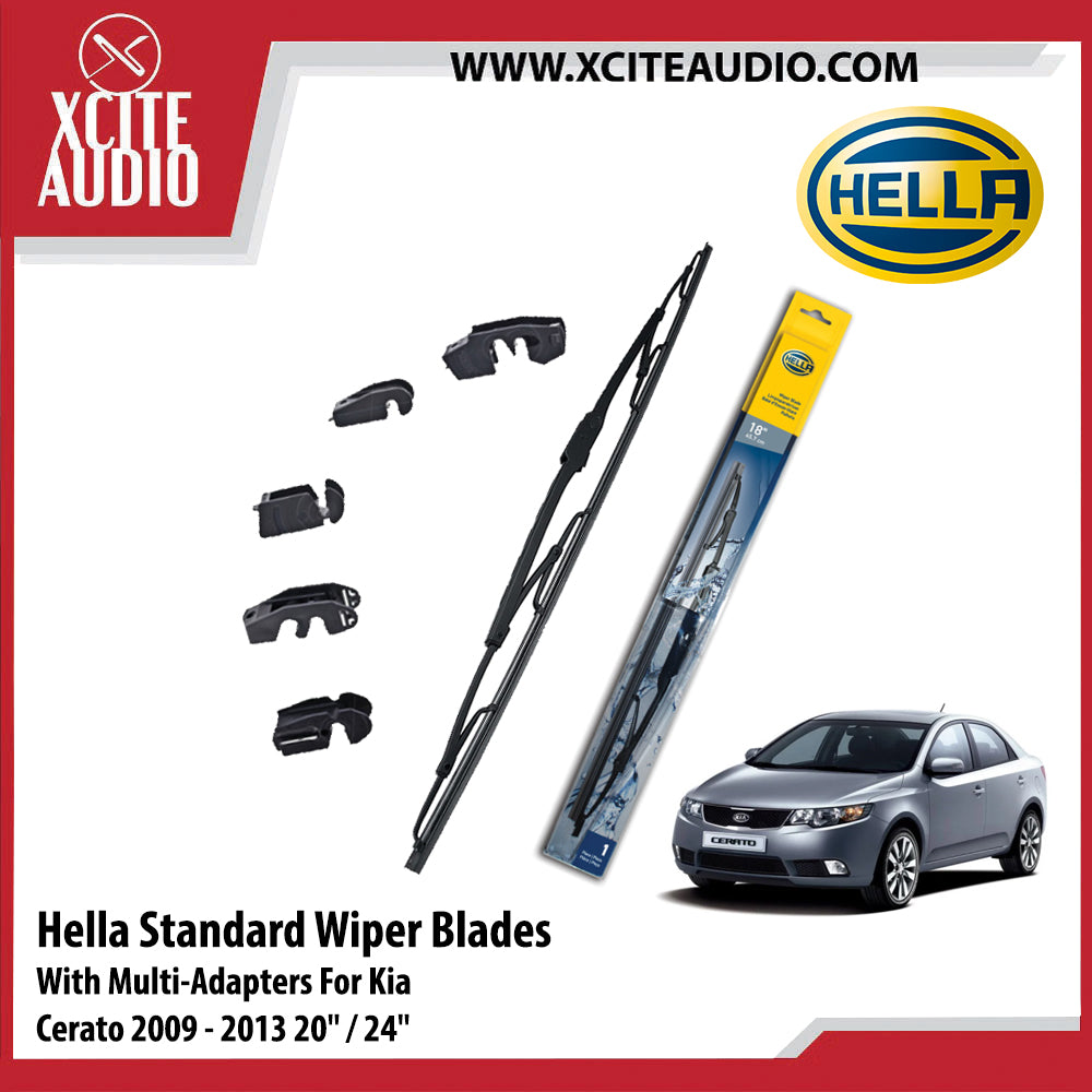 Hella Standard Wiper Blades Car Windshield Wiper With Multi-Adapters For Kia Cerato, Forte, Rio, Picanto - Xcite Audio