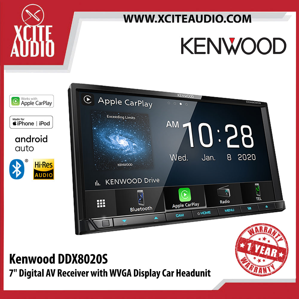 "Kenwood DDX8020S 7"" Digital AV Receiver with WVGA Display Car Headunit - Xcite Audio"