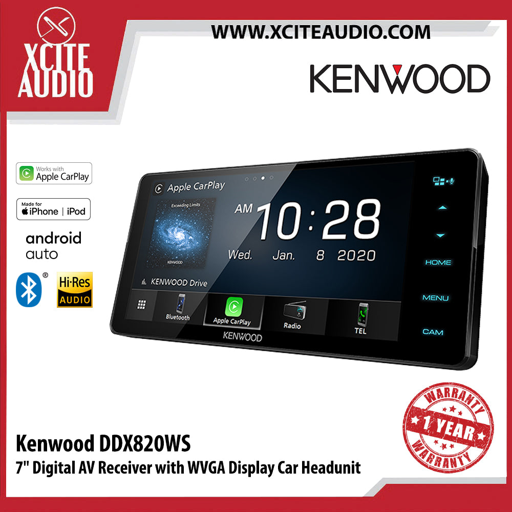 "Kenwood DDX820WS 7"" Digital AV Receiver with WVGA Display Car Headunit - Xcite Audio"