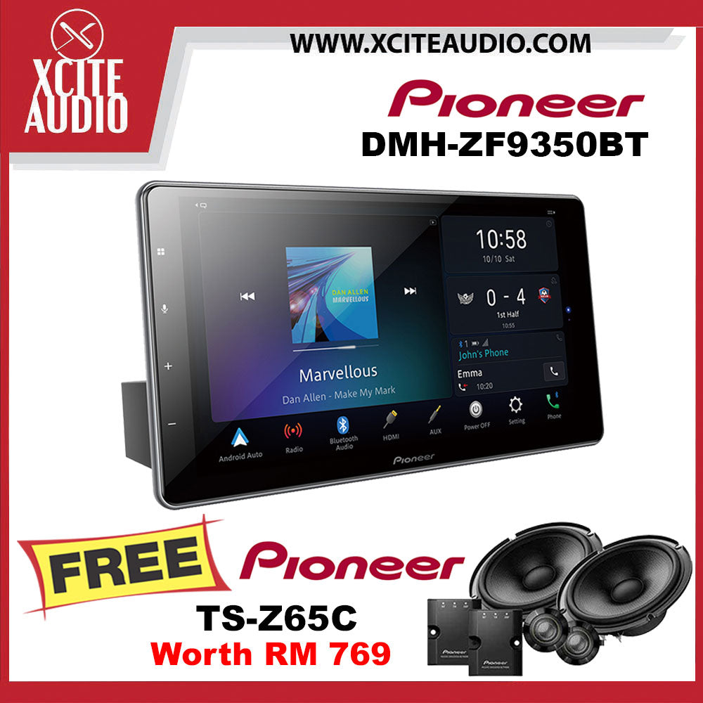"Pioneer DMH-ZF9350BT 9"" Single-Din Floating Car Headunit FOC Pioneer TS-Z65C 6.5"" 2-Way Component Car Speakers - Xcite Audio"