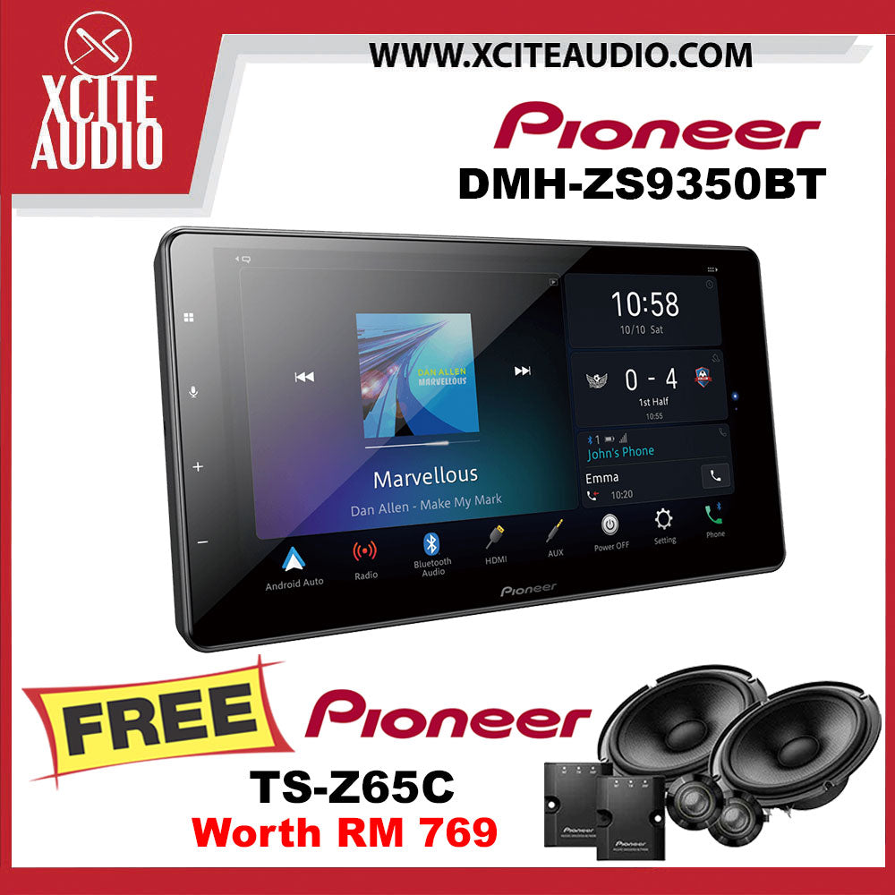 "Pioneer DMH-ZS9350BT 9"" Apple CarPlay Android Auto Car Headunit FOC Pioneer TS-Z65C 6.5"" Component Car Speakers - Xcite Audio"