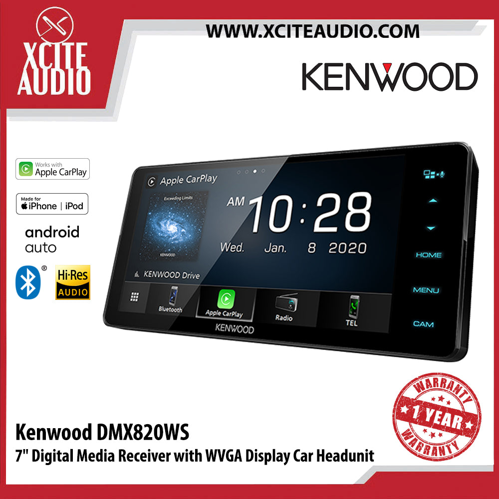 "Kenwood DMX820WS 7"" Digital Media Receiver with WVGA Display Car Headunit - Xcite Audio"