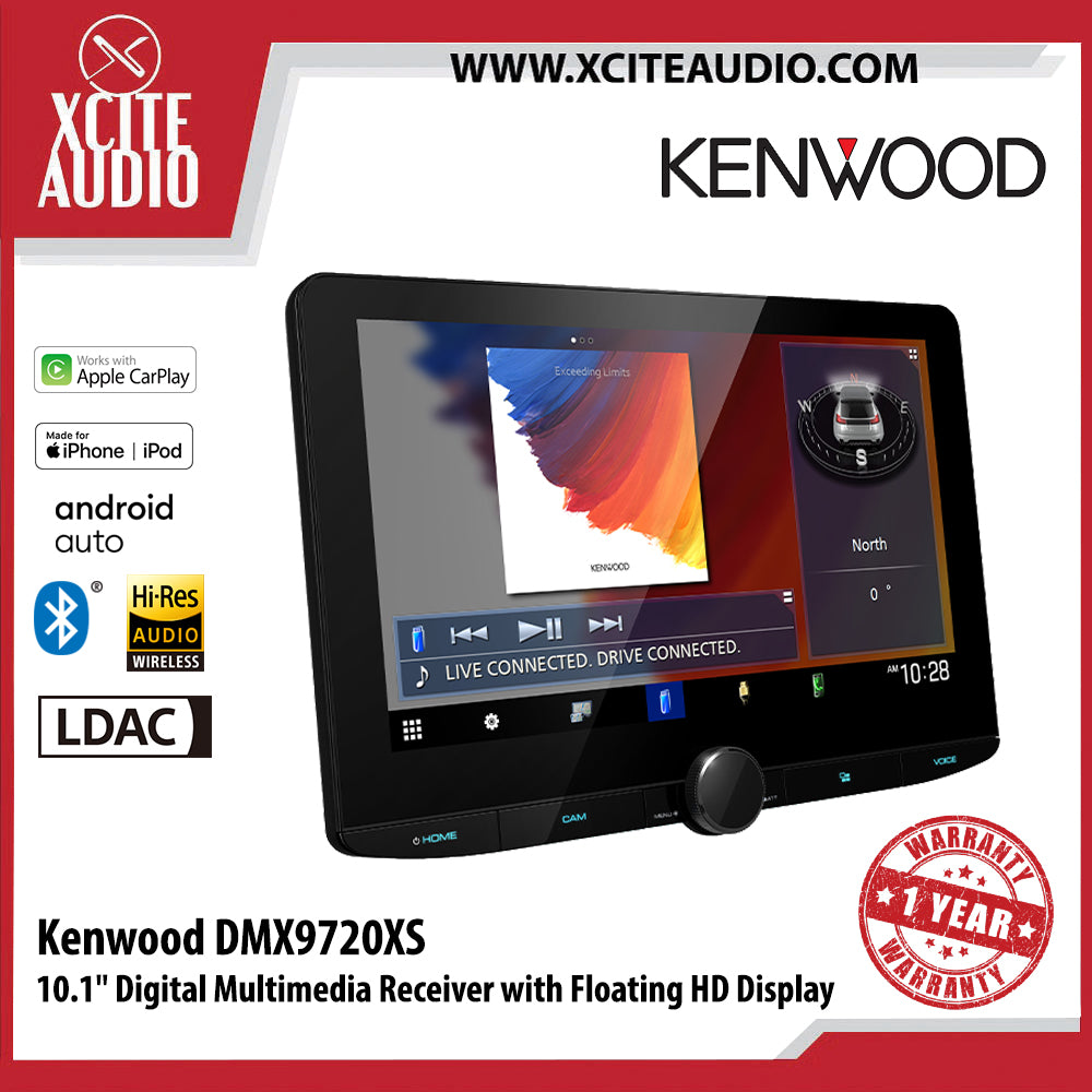 "Kenwood DMX9720XS 10.1"" Digital Multimedia Receiver with Floating HD Display Car Headunit Car Player - Xcite Audio"