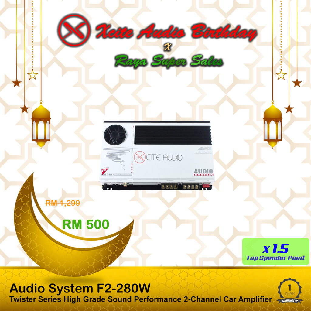 Audio System F2-280W 2-Channel Twister Series 225Watts x 2 RMS at 2 Ohm Class-D Car Amplifier - Xcite Audio