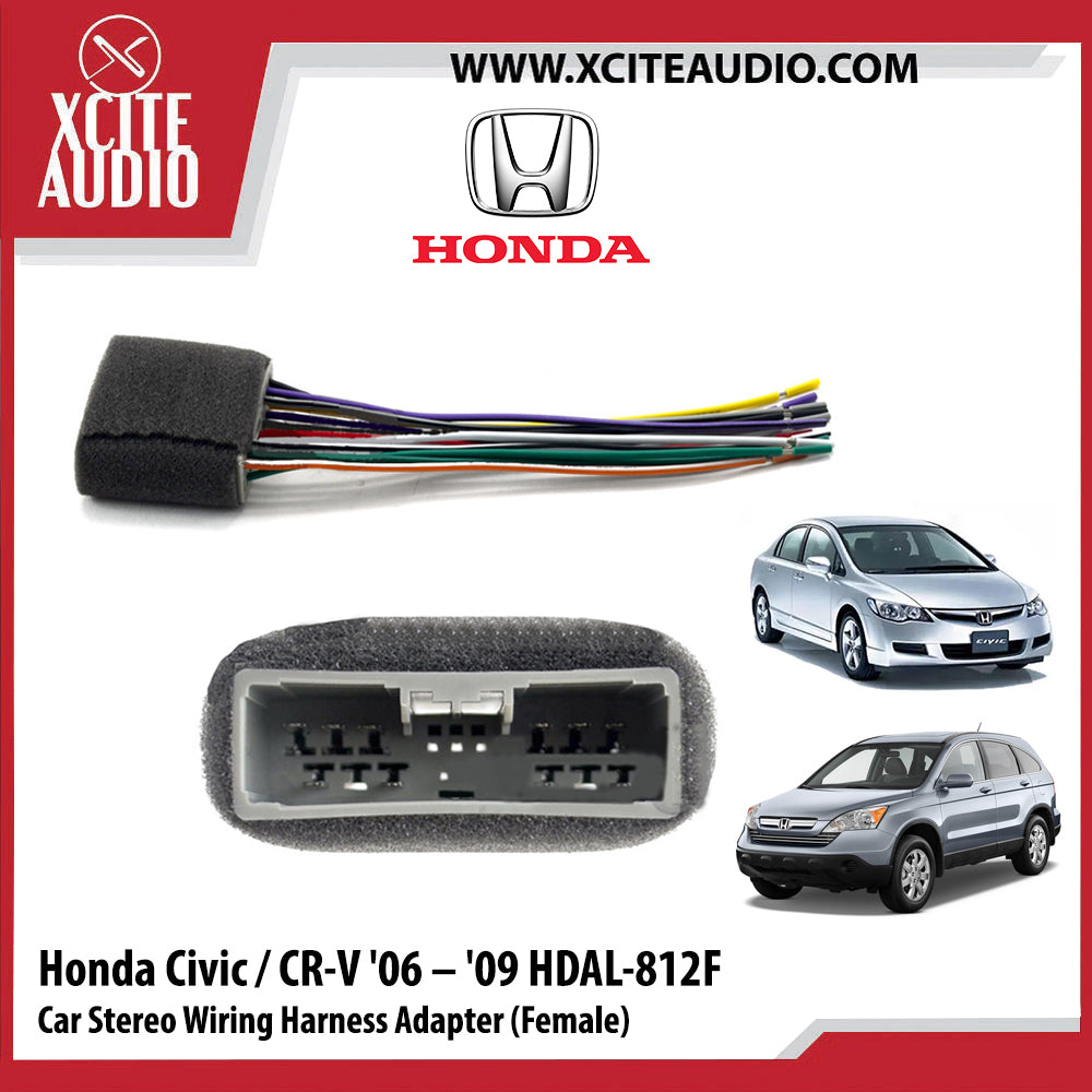 Honda Civic / Honda CR-V 2006-2009 HDAL-812F Car Stereo Wiring Harness Adapter Steering Wheel Control Adapter (Female) - Xcite Audio