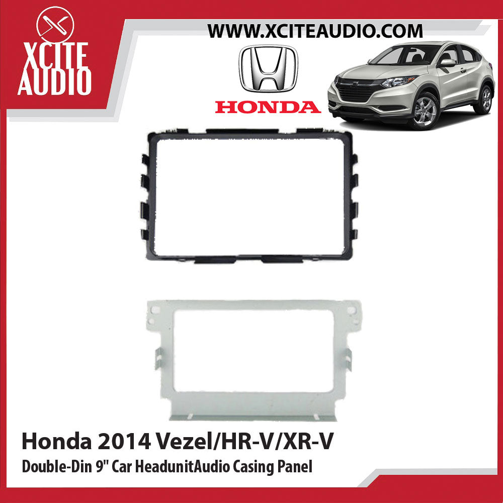 Honda 2014 Vezel/HR-V/XR-V Double-Din 9 inch Car Headunit/Player/Stereo Audio Casing Panel - UV Black - Xcite Audio