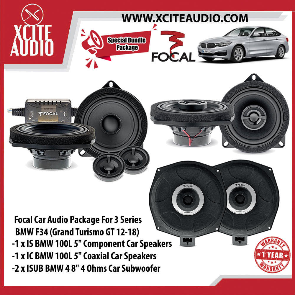 "Focal Car Audio Bundle Package Set 3 for BMW 3 & 5 Series (1 x IS BMW 100L 5"" Component Car Speakers + 1 x IC BMW 100L 5"" Coaxial Car Speakers + 2 x ISUB BMW 4 8"" Car Subwoofer) - Xcite Audio"