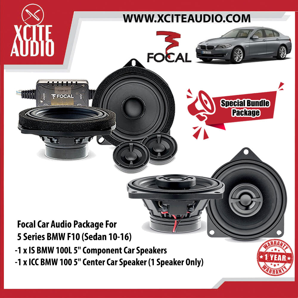 "Focal Car Audio Bundle Package Set 1 for BMW 5 Series (1 x IS BMW 100L 5"" Component Car Speakers + 1 x ICC BMW 100 5"" Center Car Speakers) - Xcite Audio"