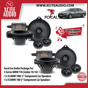 "Focal Car Audio Bundle Package Set 9 for BMW 5 Series (1 x IS BMW 100L 5"" Component Car Speakers + 1 x IS BMW 100 5"" Coaxial Car Speakers) - Xcite Audio"