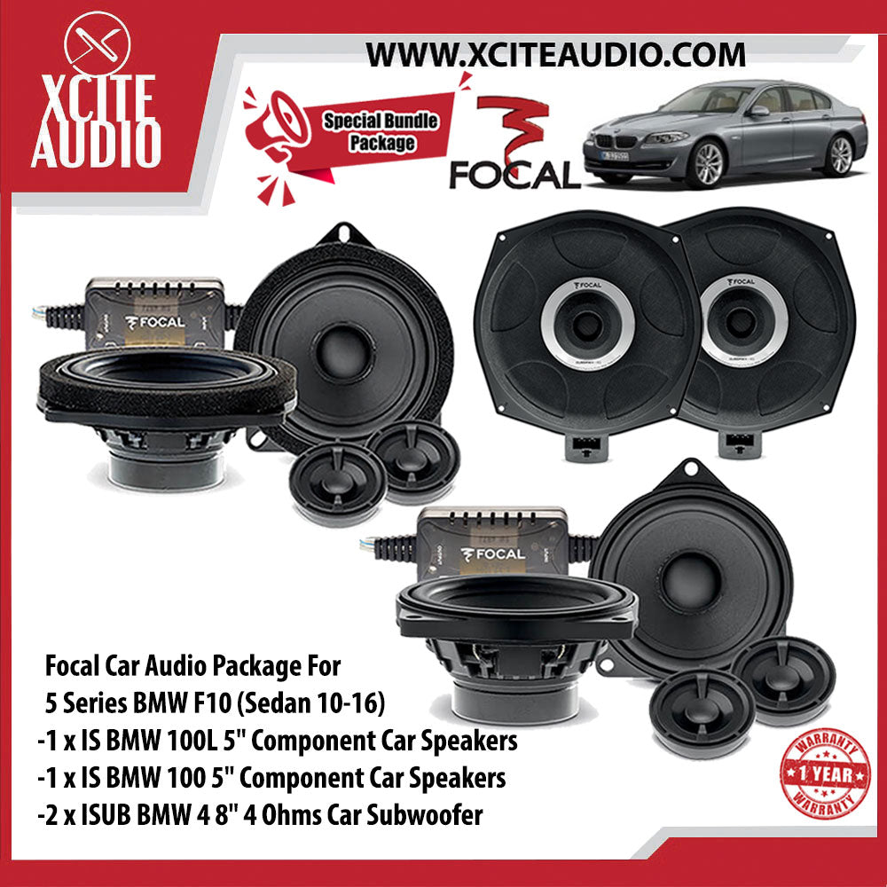 "Focal Car Audio Package Set 11 For BMW 5 Series (1 x IS BMW 100L 5"" Component Car Speakers + 1 x IS BMW 100 5"" Component Car Speakers + 2 x ISUB BMW 4 8"" Car Subwoofer) - Xcite Audio"